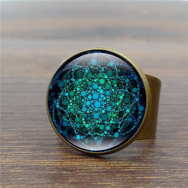 Mandala Flower of Life Vintage Art Glass Dome Ring  (Om Yoga Chakra) - Capital Elements 2 Wellness and Fitness