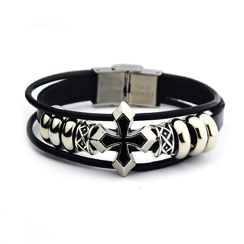 Braided Leather Rivet Wristband Bracelet - Capital Elements 2 Wellness and Fitness