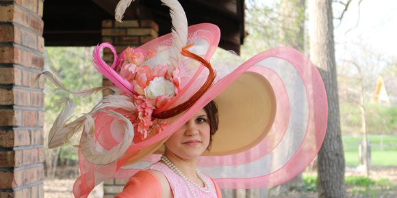 Gorgeous pink and coral Kentucky Derby hat created by Vinzetta Millinery at ChurchDerbyHats.com