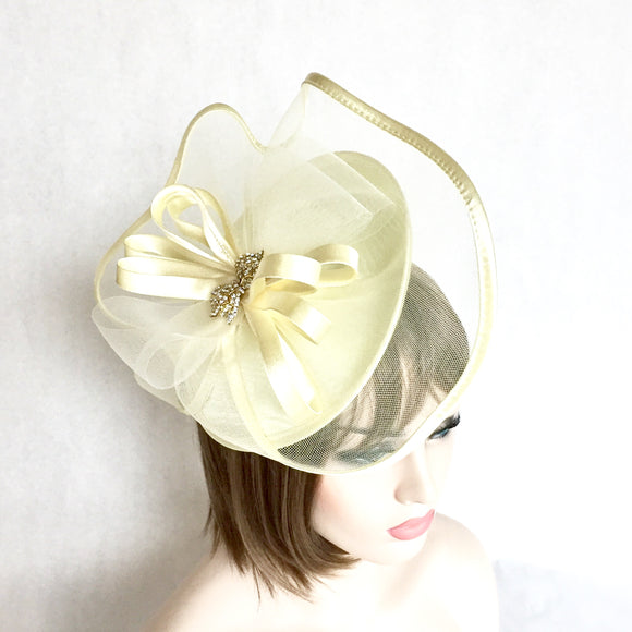 Bow Yellow Fascinator Headband