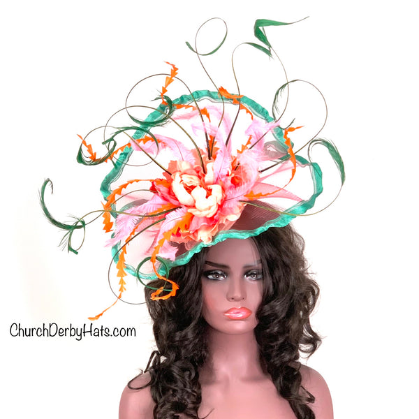 Coral and Teal Fascinator