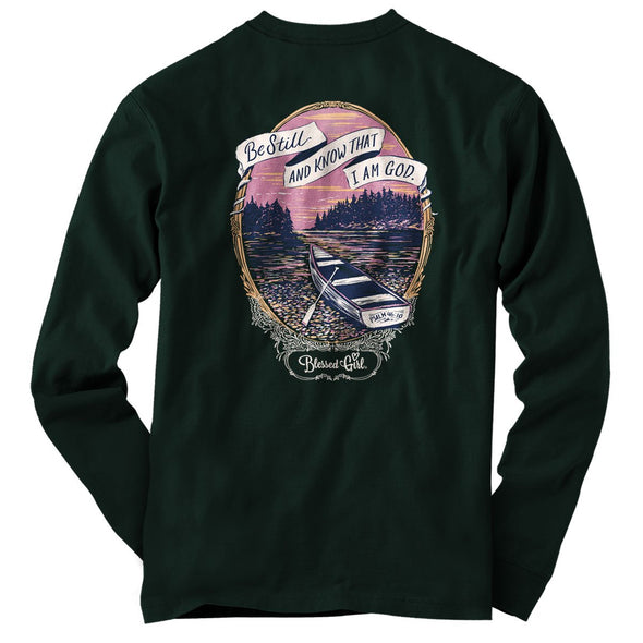 Blessed Girl Womens Long Sleeve T-Shirt Be Still Lake T-Shirts