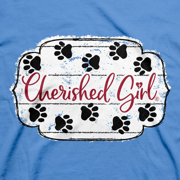 Cherished Girl Womens T-Shirt Paws & Pray