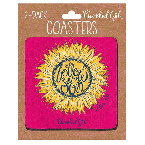 Cherished Girl Christian Drink Coasters Follow The Son
