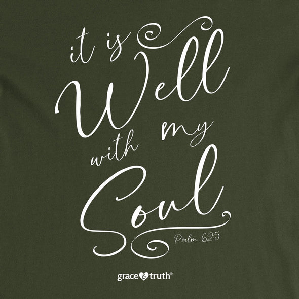 grace & truth Womens V-Neck T-Shirt It Is Well Script