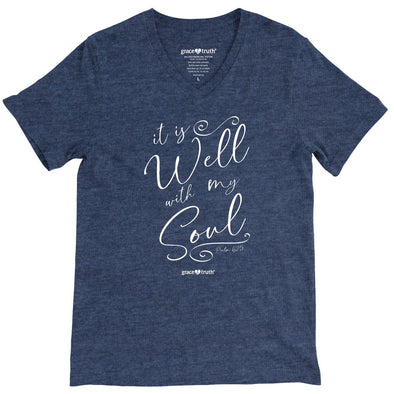 Grace & Truth Womens V-Neck T-Shirt It Is Well Script T-Shirts