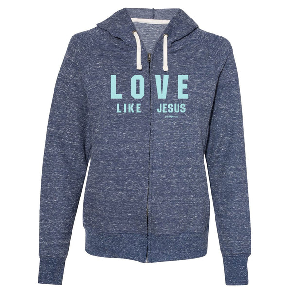 grace & truth Womens French Terry Zip Hoody Love Like Jesus