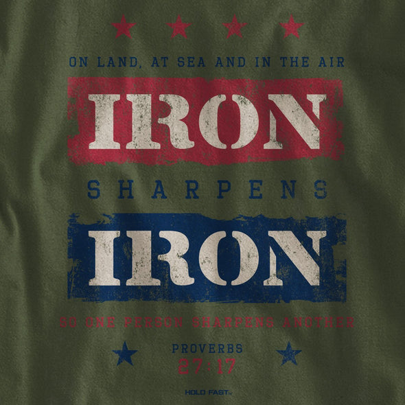 HOLD FAST Mens Long Sleeve T-Shirt Iron Sharpens Iron