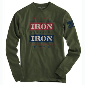 HOLD FAST Mens Long Sleeve T-Shirt Iron Sharpens Iron Blue Flag