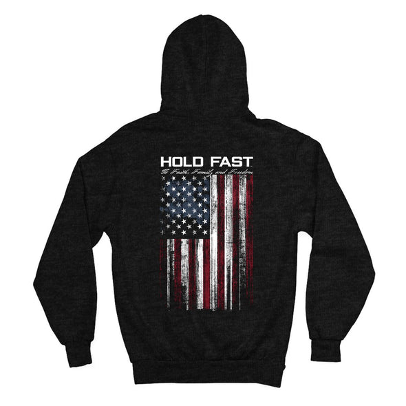 HOLD FAST Mens Zip Hooded Sweatshirt Hold Fast Flag