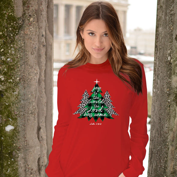 Kerusso Womens Christmas Long Sleeve T-Shirt Trees