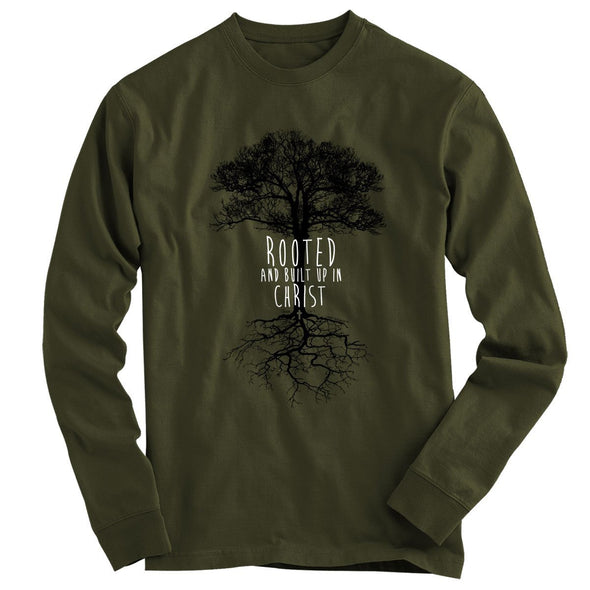 Light Source Mens Long Sleeve T-Shirt Rooted In Christ