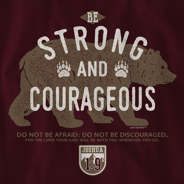 Light Source Mens Long Sleeve T-Shirt Strong & Courageous Bear