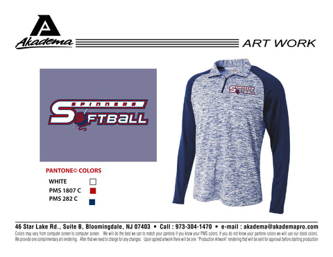 Spinners Softball 1/4 Zip Space Dye