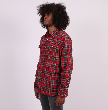The Harvest Tailored Shirt with Hand Pockets - Red