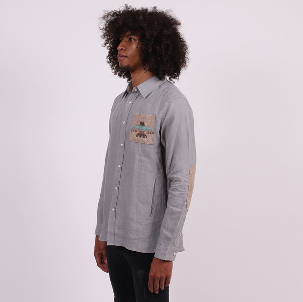 Thunderbird Tailored Shirt with Hand Pockets  - Gray