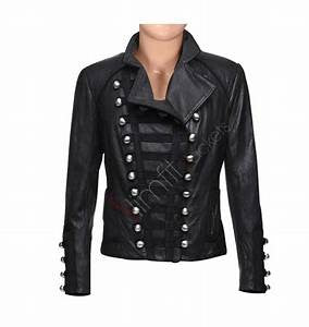 Black leather jacket with asymmetrical details