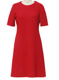 Red dress with princess neckline