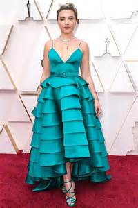 Florence Pugh in a teal green gown by Louis Vuitton at the Oscars.