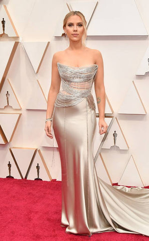 Scarlett Johannson in a Oscar de la Renta silver dress at the Oscars