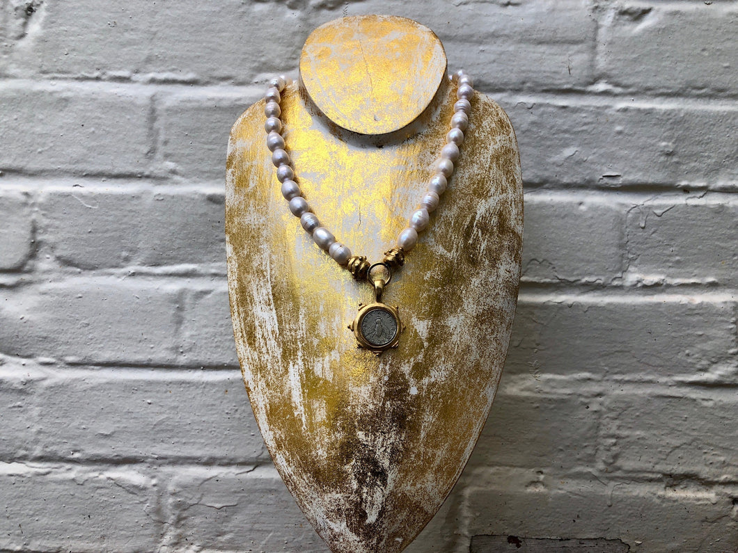 Pearl Necklace with Silver Bee Coin