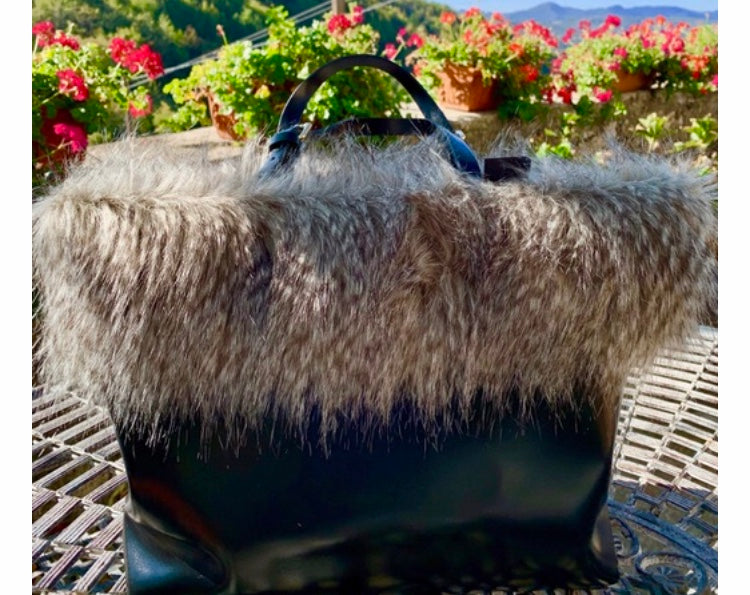 Leather and Faux Fur Handbag