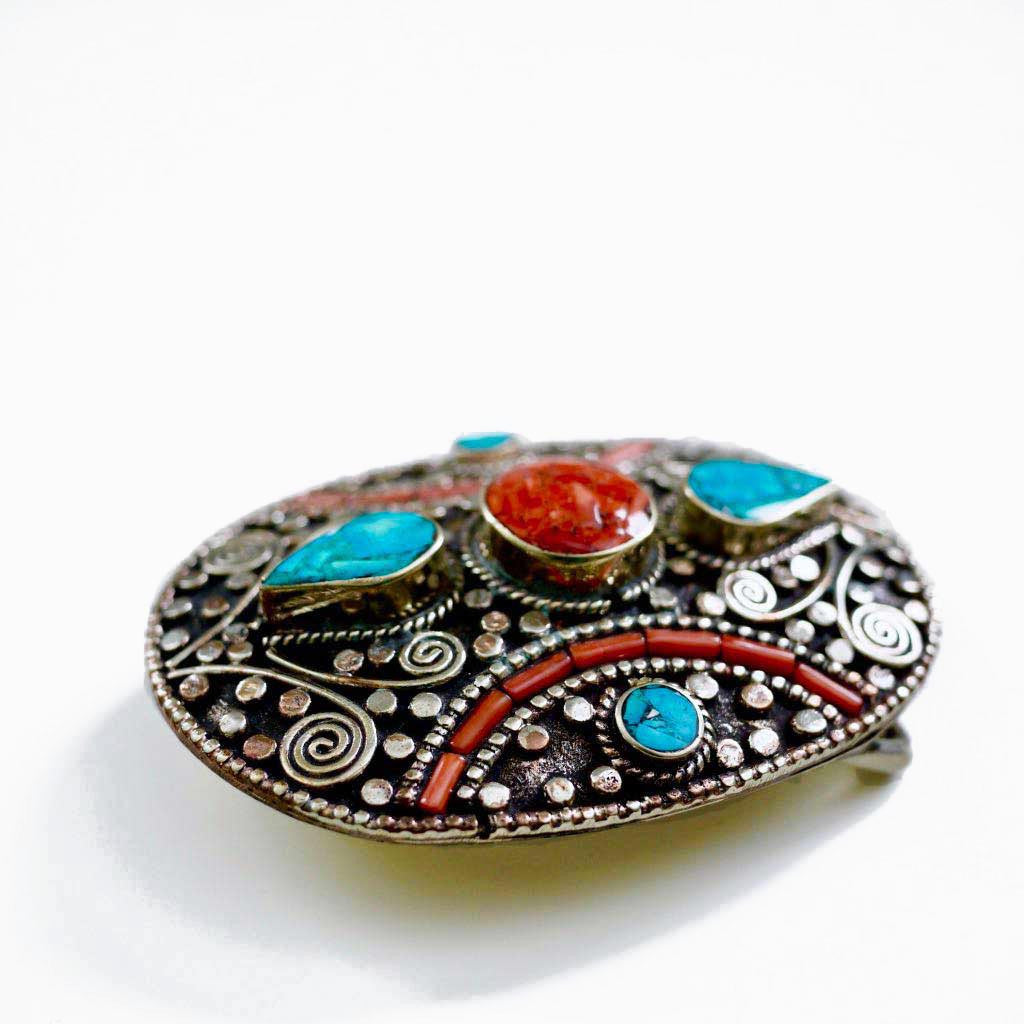 Coral and Turquoise Belt Buckle