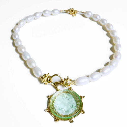 Fresh Water Pearl and Venetian Glass Coin Necklace
