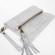 Gray Croc Clutch Bag