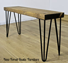 Rustic Linwood side lamp table complimented with cast iron style black metal legs finished with a rustic dark oak finished pine top. Handcrafted by New Forest Rustic Furniture
