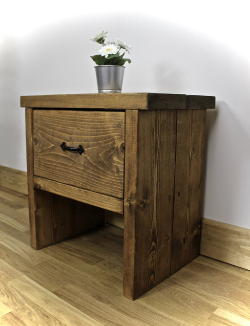 Rustic Portmore Bedside Table finished in Dark Oak, Handcrafted by New Forest Rustic Furniture. complimented with a Black cast iron Handle