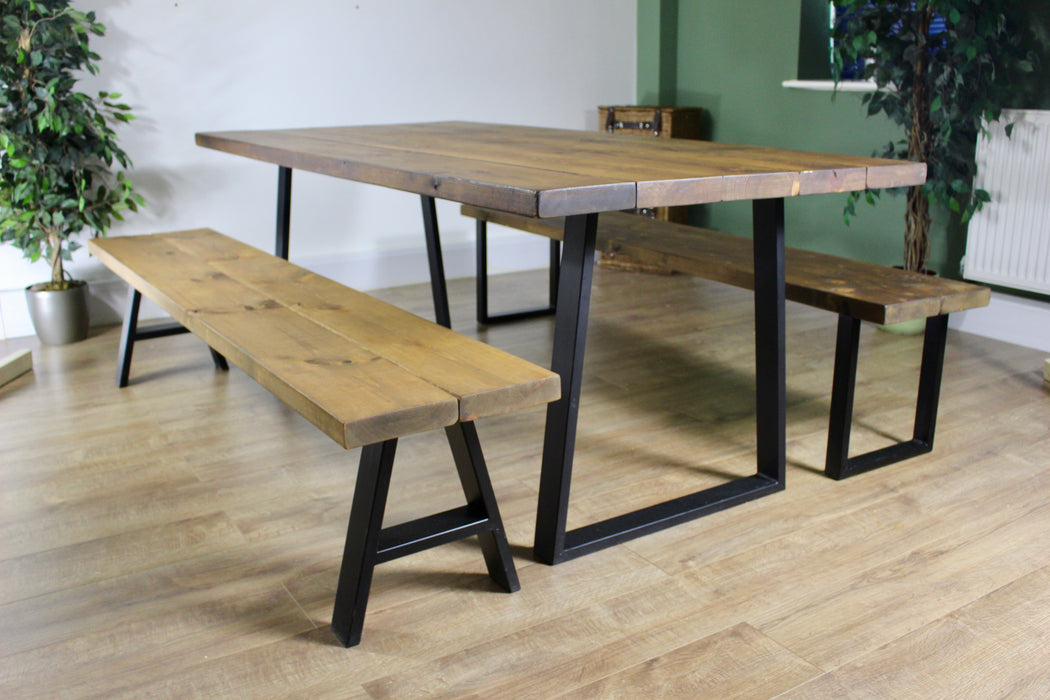 Solid Rustic Industrial Dining Room table finished in dark oak. handcrafted by new forest rustic furniture