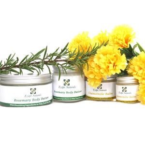 150g Rosemary Body Butter, 75g travel size body butter, 60g Chamomile Balm and 30g travel size balm