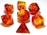 Chessex : Lab Dice - Polyhedral 7-die set Gemini Red-Yellow/gold