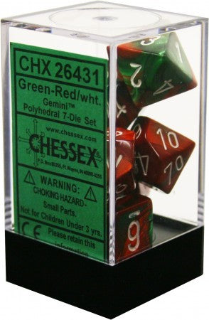 Chessex : Polyhedral 7-die set Green-Red/White