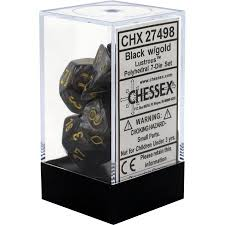 Chessex : Polyhedral 7-die set Lustrous Black/Gold