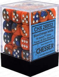 Chessex : 12mm d6 set Blue-Orange/White