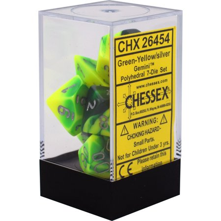 Chessex : Polyhedral 7-die set Green-Yellow w/silver