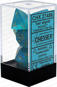Chessex : Polyhedral 7-die set Teal/Gold