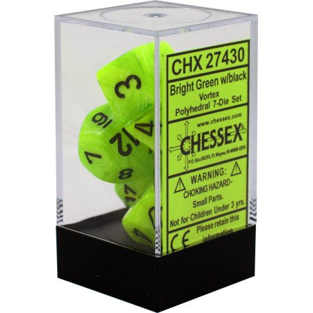 Chessex : Polyhedral 7-die set Bright Green/Black