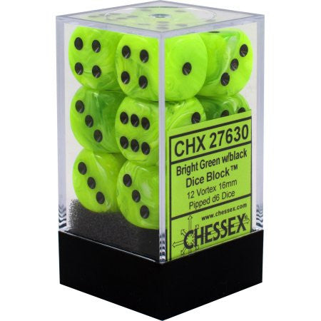 Chessex : 16mm d6 set Bright Green/Black