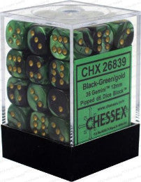 Chessex : 12mm d6 set Black-Green/Gold