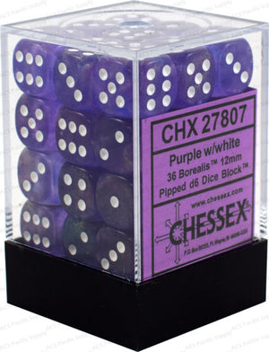 Chessex : 12mm d6 set Purple/white