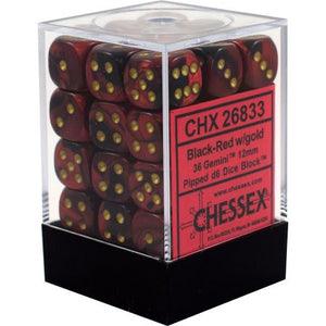 Chessex : 12mm d6 set Black-Red/Gold