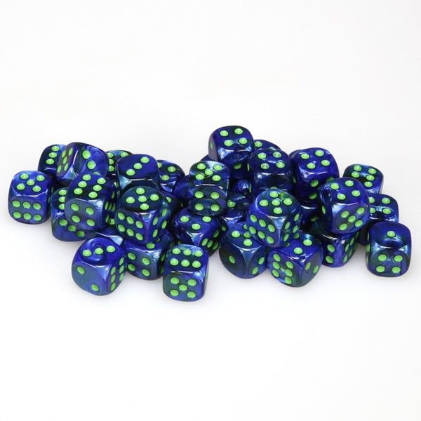 Chessex : 12mm d6 set Lustrous Dark Blue/Green