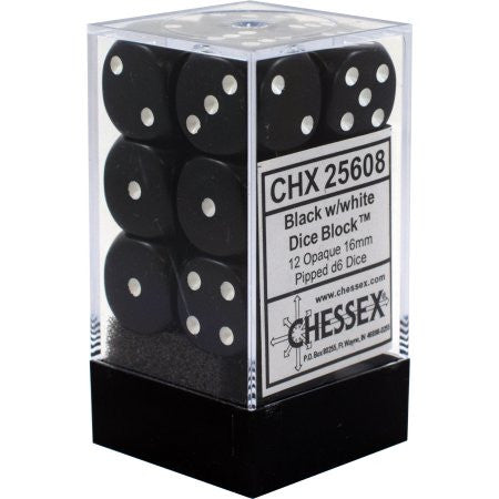 Chessex : 16mm d6 set Black/White