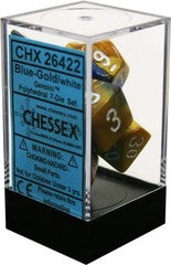 Chessex : Polyhedral 7-die set Blue-Gold/white