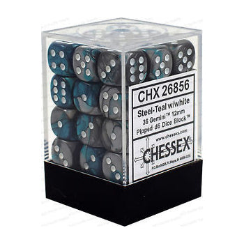 Chessex : 12mm d6 set Steel-Teal/White