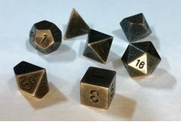 Chessex: Solid Metal Old Brass Polyhedral 7-Dice Set
