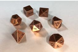 Chessex: Solid Metal Copper Polyhedral 7-Dice Set